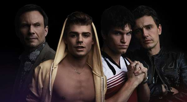 Christian Slater, left, Garrett Clayton, Keegan Allen and