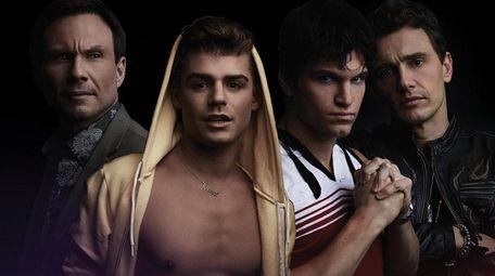 Christian Slater, left, Garrett Clayton, Keegan Allen and