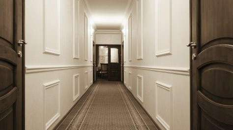 A hallway leading to an office.