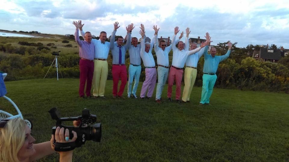 Colorful pants at a wedding