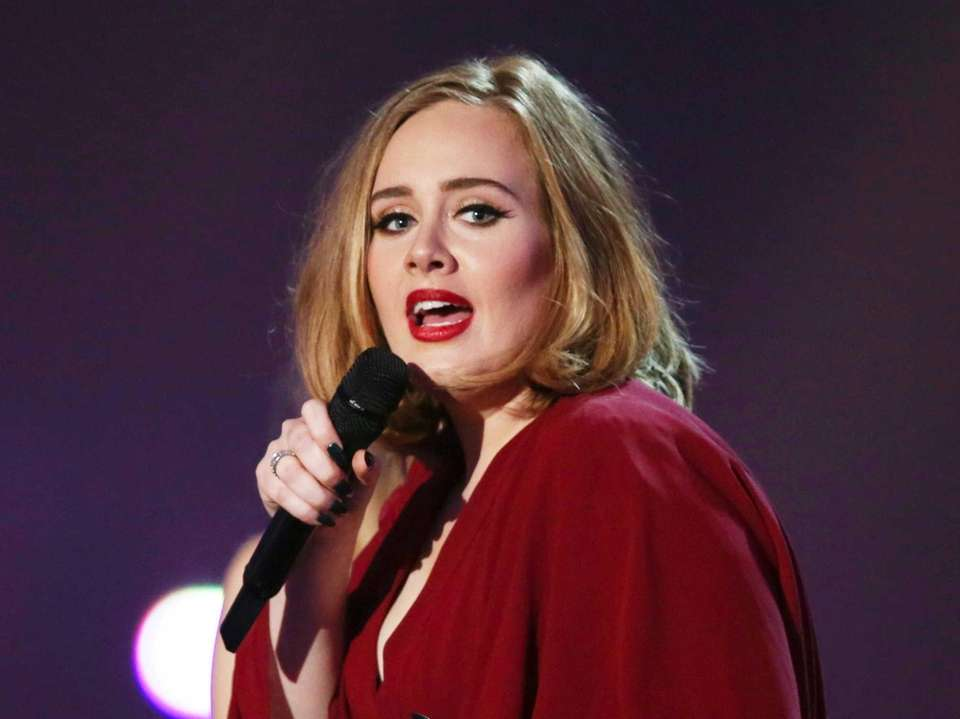 Adele onstage at the Brit Awards 2016 at