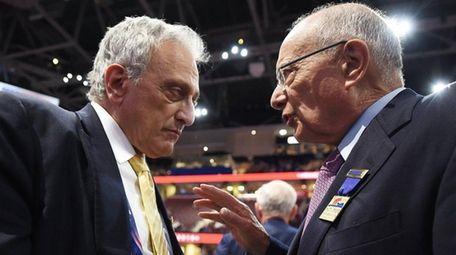 Carl Paladino, of Buffalo, left, talks with Al