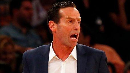 Brooklyn Nets' head coach Kenny Atkinson reacts in