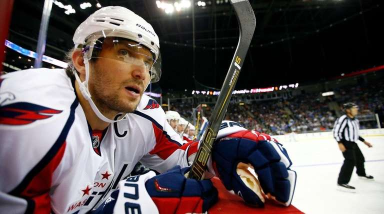 Alex Ovechkin #8 of the Washington Capitals watches