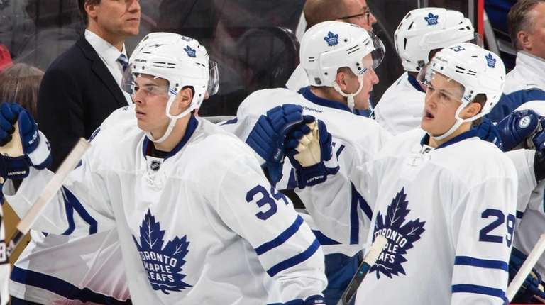 Auston Matthews of the Toronto Maple Leafs celebrates