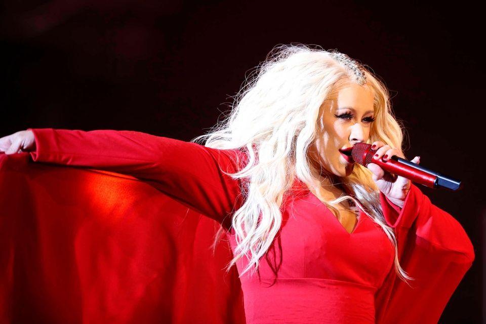 Christina Aguilera performs at a festival in Morocco