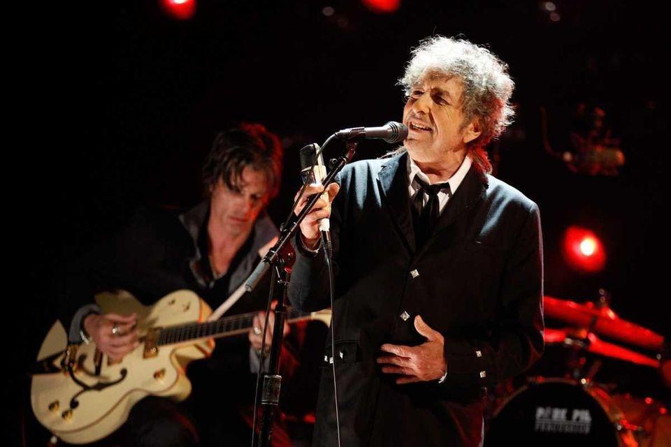 Singer-songwriter Bob Dylan performs on Jan. 12, 2012.