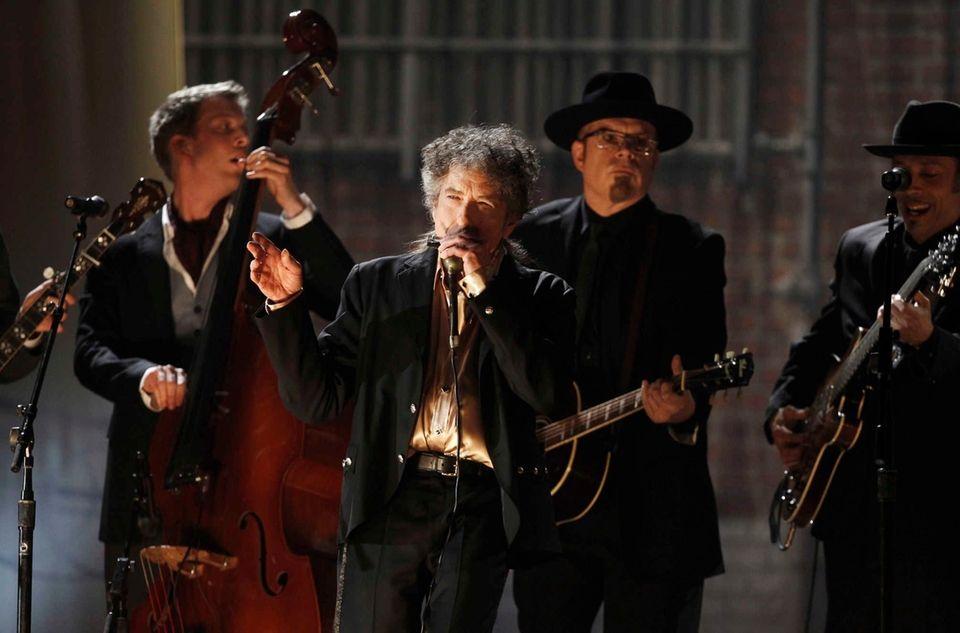 Singer-songwriter Bob Dylan performs on Feb. 13, 2011,during
