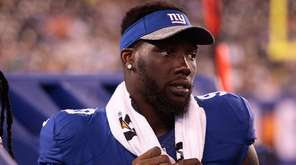 Jason Pierre-Paul of the Giants looks on from