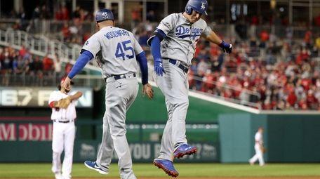 Joc Pederson of the Los Angeles Dodgers celebrates