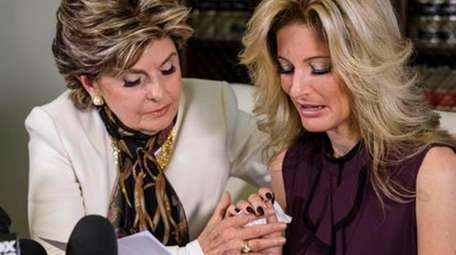 Attorney Gloria Allred, left, comforts Summer Zervos as