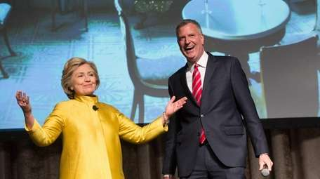 Democratic presidential candidate Hillary Clinton joins Mayor Bill