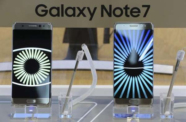 Samsung Electronics Galaxy Note 7 smartphones are displayed