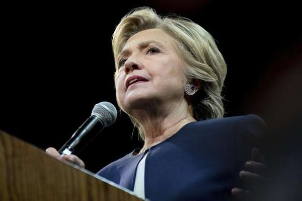 Democratic presidential candidate Hillary Clinton speaks at a