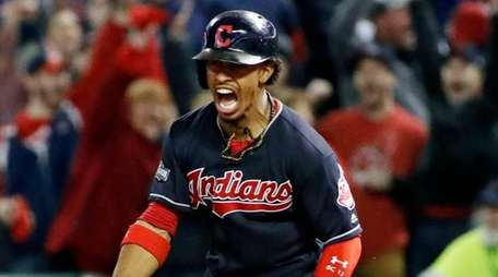 Cleveland Indians' Francisco Lindor rounds the bases on