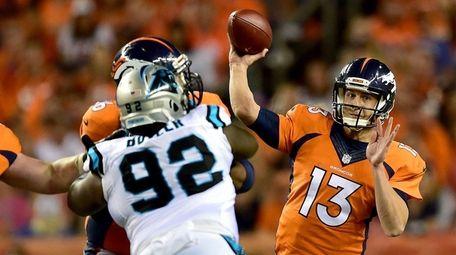 Quarterback Trevor Siemian of the Denver Broncos passes