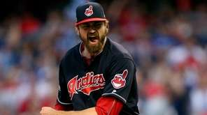 Andrew Miller of the Cleveland Indians celebrates after