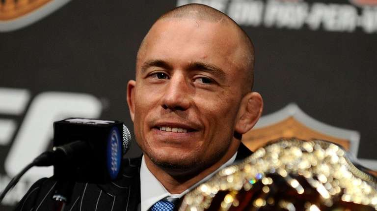 Georges St-Pierre of Montreal, Quebec, Canada speaks at