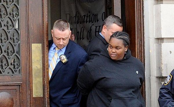 Tiara Ferebee, 24, leaves a Queens police precinct