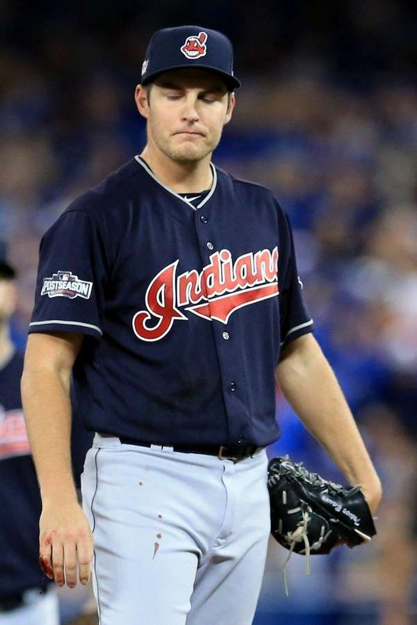 Trevor Bauer of the Cleveland Indians walks back