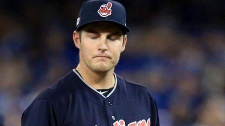 Trevor Bauer of the Cleveland Indians walks back