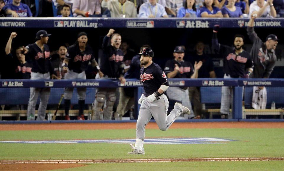 Cleveland Indians' Jason Kipnis rounds the bases after
