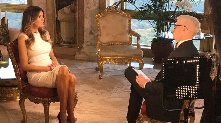 Anderson Cooper interviews Melania Trump on CNN on