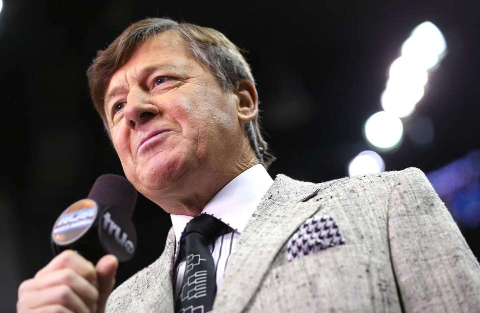 TV personality Craig Sager speaks on the court