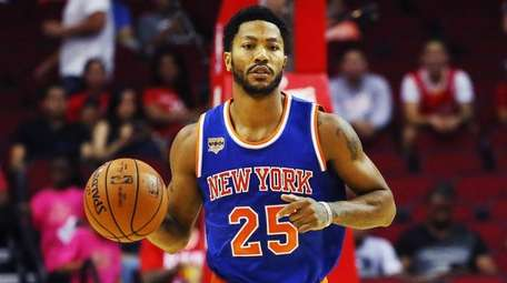 Derrick Rose of the New York Knicks takes