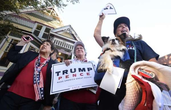 Republican presidential candidate Donald Trump supporters Mary Claire,