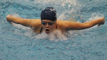 Hazel Wilkins of Bellmore-Merrick swims in the 100