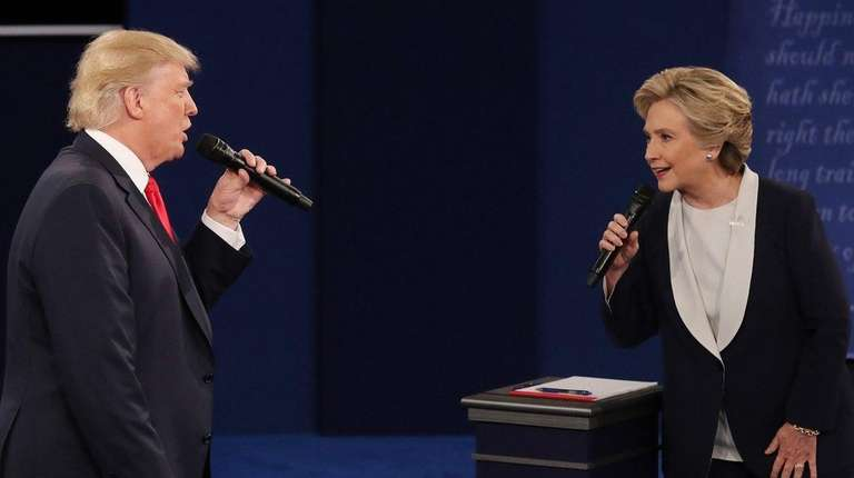 Hillary Clinton and Republican Donald Trump during the
