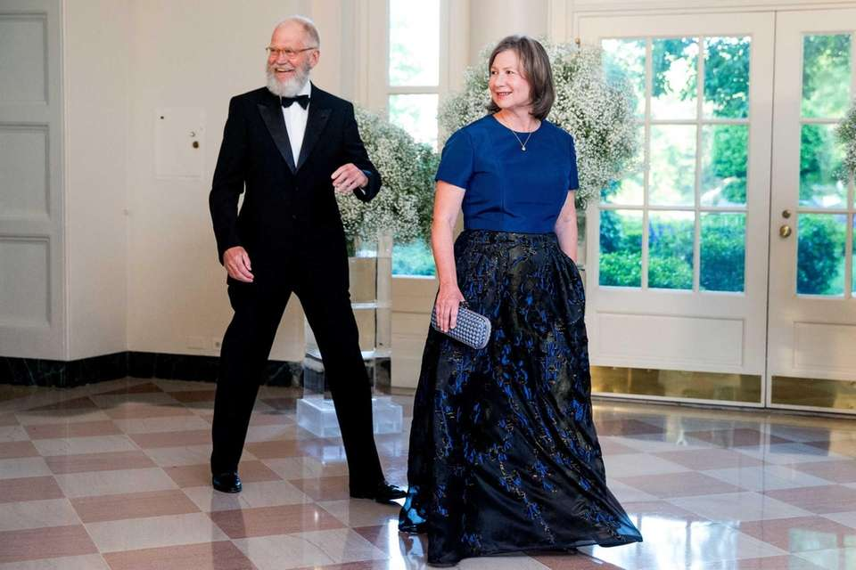 David Letterman and his wife, Regina Lasko, arrive