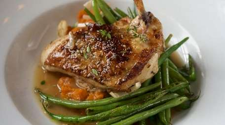 Chicken with smoked sweet-potato mash and charred haricots