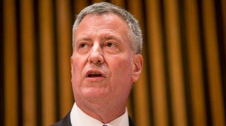 New York Mayor Bill de Blasio speaks during
