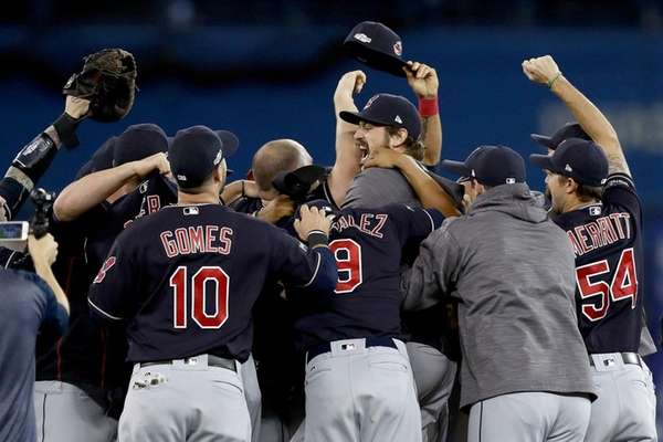 Andrew Miller of the Cleveland Indians celebrates with