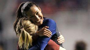 United States' Samantha Mewis (3) celebrates her goal