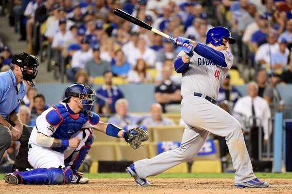 Anthony Rizzo #44 of the Chicago Cubs hits