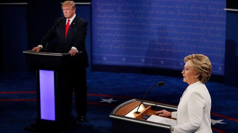 Democratic presidential nominee Hillary Clinton speaks as Republican