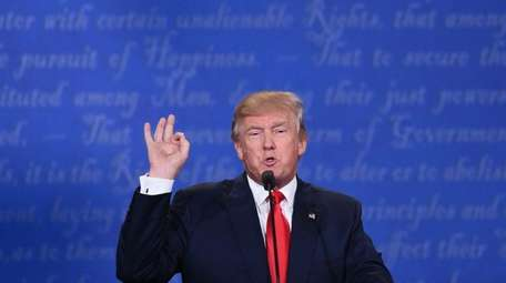 Republican presidential candidate Donald Trump speaks during the