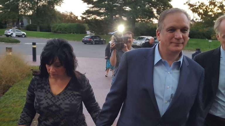 Nassau County Executive Edward Mangano, right, and his