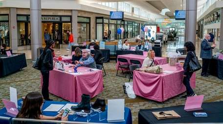 Job seekers meet with mall vendor representatives during