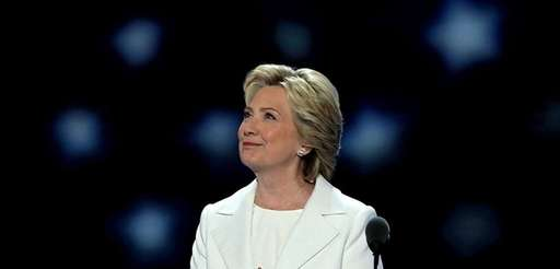 Democratic presidential nominee Hillary Clinton acknowledges the crowd
