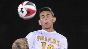 Fernando Robayo of St. Anthony's makes a header