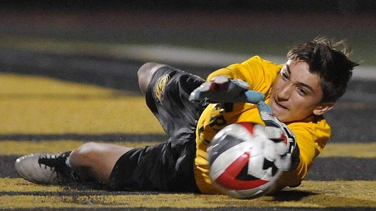 St. Anthony's goalkeeper Rob Leamy makes a save