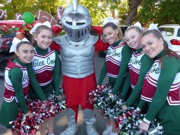 Glen Cove High School cheerleaders with the Glen