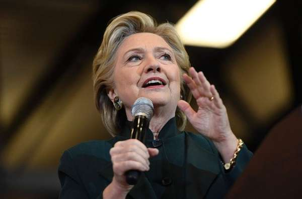 Hillary Clinton speaks at a rally at Cuyahoga