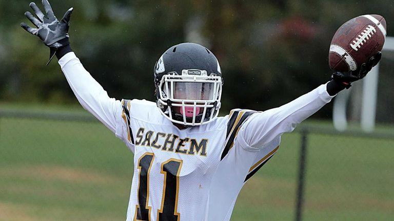 Sachem North's Courtney Williams celebrates his touchdown reception