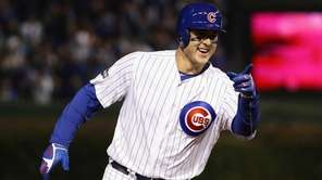 Anthony Rizzo #44 of the Chicago Cubs reacts