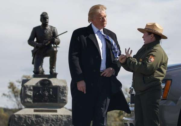 Interpretive park ranger Caitlin Kostic speaks to Republican